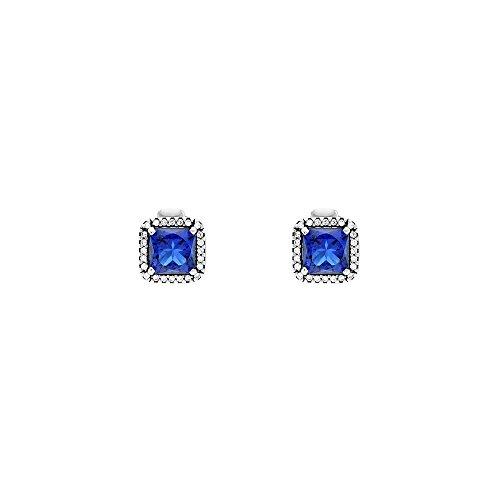 Pandora Timeless Elegance Silver & Blue Stud Earrings 290591NBT