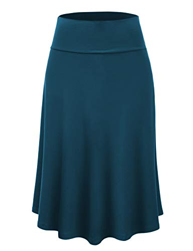 Lock and Love LL WB1105 Womens Lightweight Fold Over Flared Midi Skirt XXL Teal