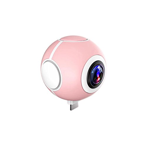 Adealink 360 Degree HD Mini Sport Camera Dual Fisheye Lens VR Real Time Seamless Stitching Panoramic Cameras For Android Phone (Pink)