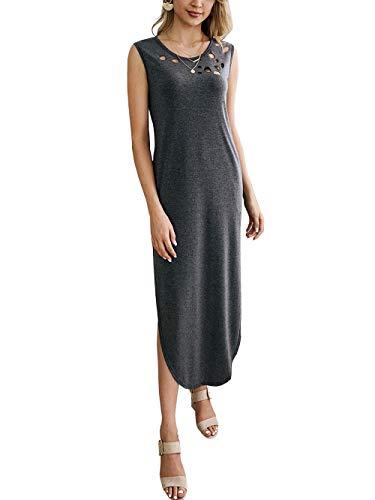 KIRUNDO 2019 Summer Women's Dress Sleeveless Crew Neck Hollow Side Split Maxi Dress Solid Color with Pockets (Small, Grey)