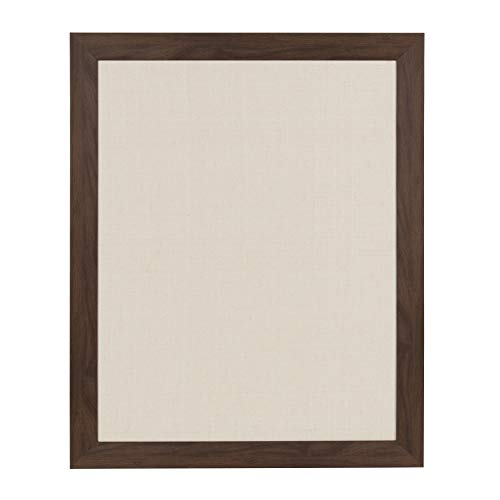 (DesignOvation Beatrice Framed Linen Fabric Pinboard, 23x29, Walnut Brown)