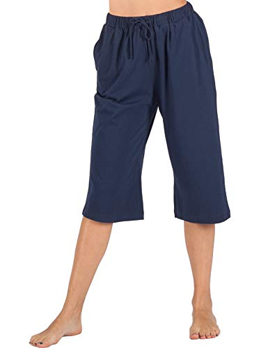 WEWINK CUKOO 100% Cotton Women Pajama Capri Pants Lounge Pants with Pockets Sleepwear (XXL=US 20-22, Blue)