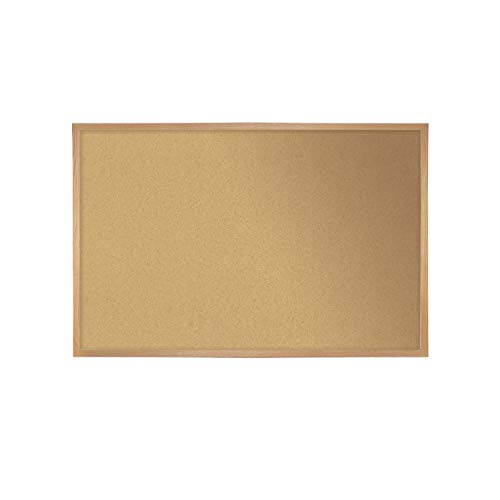 Ghent 14231 Natural Cork Bulletin Board with Wood Frame 2'H x 3'W