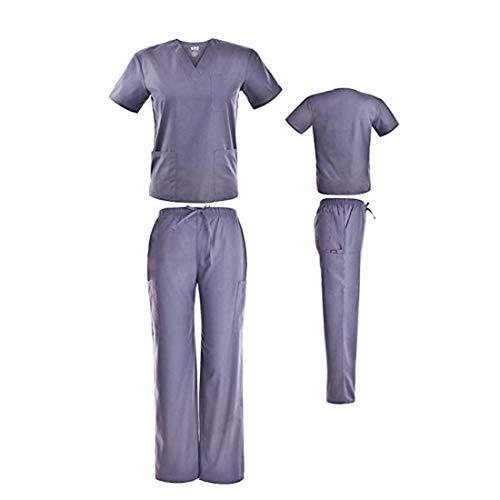 2xl Xxl Scrubs - DSF Medical Uniform Unisex Scrub Set, Grey, XXL