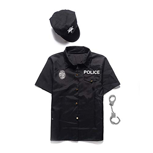 BooW Men's Short Sleeve Police Officer Shirt with Cap America Cop Role Play Costume Adult Security Guard Uniform Halloween Fancy Dress (L, 1210Black Police)]()