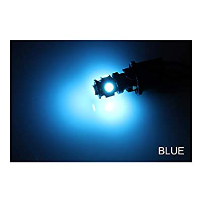 Luxvista BA9S 12V LED Bulb Blue - Super Bright BA9S Amber LED Bulb RV Turn Signal Bulbs for License Plate Light Reverse Light Brake Light Side Marker Light (6-Pack): Automotive