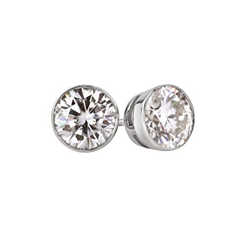 18k White Gold Round Moissanite Stud Earrings (2ct TGW, 6.5mm, J-K)Bezel-set, Push-Back by Diamond Wish