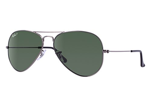 Ray-Ban RB3025 Aviator Sunglasses (58 mm, Gunmetal Frame/Polarized Green G-15 Lens)