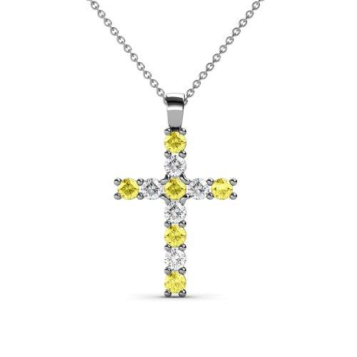 TriJewels Petite Yellow Sapphire & Diamond Cross Pendant 0.34 ctw in 14K White Gold with 14K Gold Chain