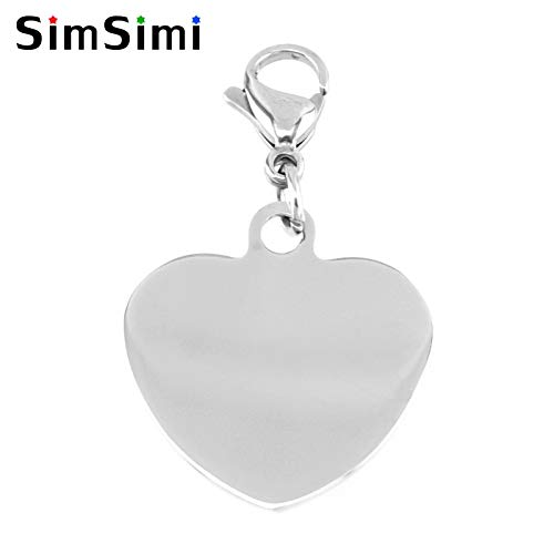 Charms - Simsimi Heart Pendant with Lobster Hook for pet Dogs Collar DIY Print Puppy Pendants Tags Both Sides Mirror Polished 10pcs - by Mct12-1 PCs