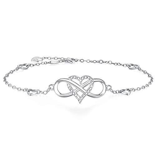 BlingGem Fußkettchen Damen Infinity aus 925 Sterling Silber mit Rundschliff Zirkonia Knöchel Armband Unendlichkeit Herz Geschenk zum Muttertag