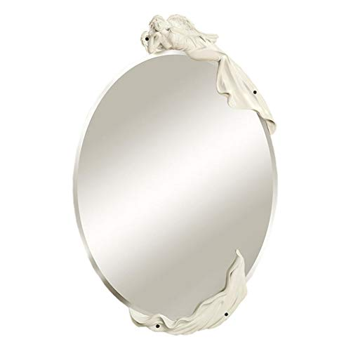 ACDRX Small Oval Frameless Mirrors - Beveled Elliptical Wall Mirror HD Vanity Make Up Mirror Tiles for Wall Décor,White ()