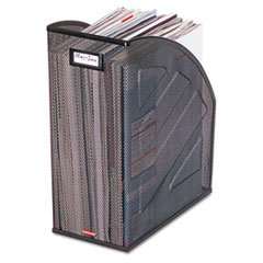 ** Nestable Rolled Mesh Steel Jumbo Magazine File, 5 7/8 x 10 x 12 1/2, Black