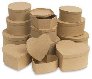 DCC Paper Mache Round Box, 9-3/8 inch, 7-7/8 inch, and 7 inch, Set of (Dcc Paper Mache)