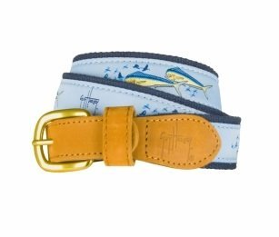 (Guy Harvey Dolphin & Flying Fish Belt-Light Blue (46))
