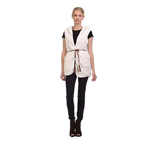 MEIbax Elgant Warmer Casual Bushy Hoodie Long Gilet Manteau Mode Femmes/Blanc Femme Doudoune sans Manche Ultra Lgre Veste Manteau Zippe Hiver Parka Blouson Blanc