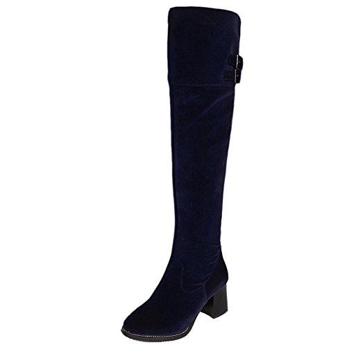COOLCEPT Damen Stiefel Half Zipper Blue