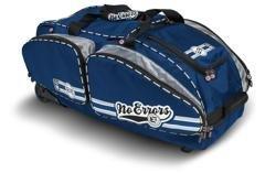 NO ERRORS NO E2 Catchers Bag with FatBoy Wheels - Wheeled Baseball Equipment Gear & Helmet Bags (Navy)