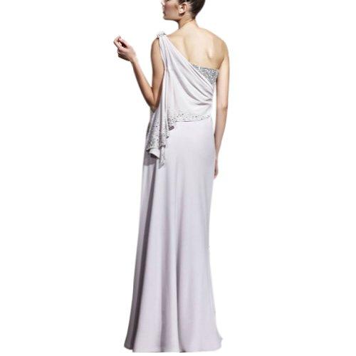einer Schulter Weiß BRIDE mit Mantel Applikationen Chiffon Spalte Abendkleid Perlen bodenlangen GEORGE a4TqxtRw