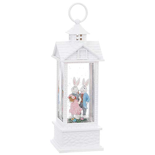 Raz Easter Bunny Couple in a Lighted Water Gazebo Classic Home Decoration 11 3/4 Inch