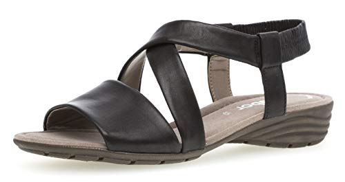 sandalias De sandalias Del cómodo Schwarz sandalias Cuña 24 550 Cuña Gabor Mujer zapatos Verano übergrößen plana Fitting best qtFIvp