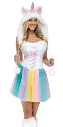 Womens Unicorn Fantasy Costumes (FunWorld Unicorn Adult, White, Small/Medium 2-8)