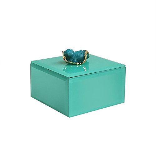American Atelier 1280257 Agate Square Jewelry Box, Peacock