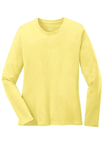 Joes USA Ladies Long Sleeve 5.4-oz 100% Cotton T-Shirts in 16 Colors. XS-4XL