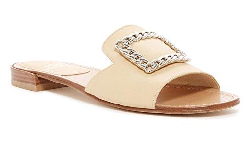 Stuart Weitzman Jacqui Chain Slide Beige Sandals Size 7