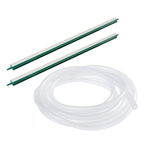 Saim Fish Tank Air Bubble 2-Piece Air Stone Bars, 18-Inch, Green/White&20Ft Airline Tubing Clear