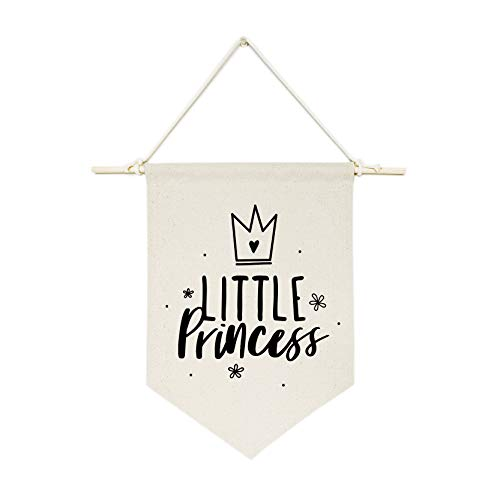 (The Cotton & Canvas Co. Little Princess Hanging Wall Canvas Banner for Baby Girl, Baby Boy, Nursery, Teen and Kids Room)