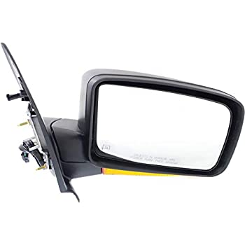 Mirror Compatible with 2006-2010 Ford Explorer Power Manual Folding Heated with Puddle Light 2 Caps Passenger Side Chrome//Textured Black