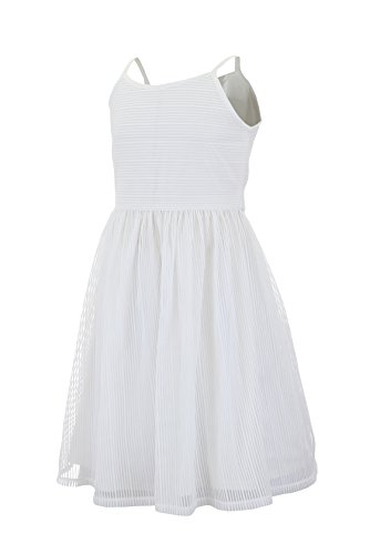 Emma Riley Girls' Camisole Bodice Stripe Dress with Sash 5 (Kids White Dress)