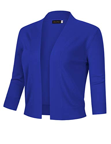 GloryStar Women's 3/4 Sleeve Open Front Cropped Cardigan Sweater Lightweight Knit Short Shrugs (XL, Royal blue)