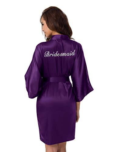 SIORO Bridal Party Robes Personalized Sliver Rhinestone Bathrobe for Bridesmaid Wedding Kimono Gown,Eggplant Plus Size]()