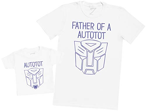 Father of an Autotot and Autotot - Matching Father Baby Gift Set - Mens T Shirt & Baby T-Shirt - White - Medium & 0-3 Months ()
