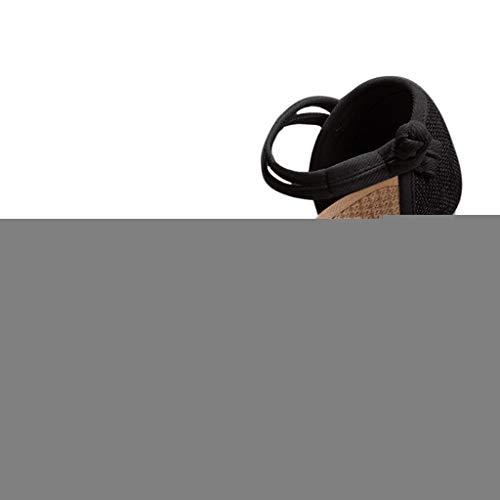 (Respctful✿Women Platform Wedges Espadrille Heel Soft Ankle-Tie Sandals High Heel Sandals with Adjustable Strap Black)