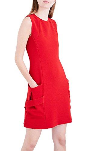 Victoria Beckham Sleeveless Patch-Pocket Crepe Mini Dress (Red, - Beckham Victoria For Sale Clothes
