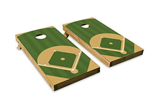 Baseball Diamond Design Cornhole/Bean Bag Toss Board Set - Made in USA Wood  - 2'x4' Tournament Size - Includes 8 Corn-Filled Bean Bags
