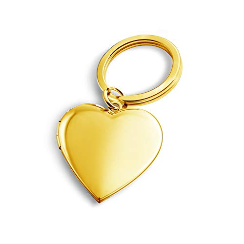 PHOCKSIN Gold Plated Heart Keychains for Women Locket Necklace That Holds Pictures Key Chain for ()