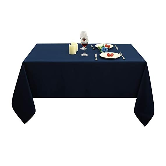 Obstal Rectangle Table Cloth, Oil-Proof Spill-Proof and Water Resistance Microfiber Tablecloth, Decorative Fabric Table Cover for Outdoor and Indoor Use (Navy Blue, 60 x 84 Inch) -  Premium Quality Tablecloth:This durable and easy to clean tablecloth is made from 100-percent premium polyester fabric. Available in 3 sizes: 60 x 84 inch, 60 x 102 inch, 60 x 120 inch, please measure your table size before buying.   Water Resistance Tablecloth: Our holiday table cloth is oil-proof, stain proof, scratch and water resistant. No leaks, making it the perfect table cover protector for your table.  Fulfill Your Finicky Fashion Sense: The impressively durable fabric promises to be a long lasting and stylish complement to your home. Whether you are looking for a stunning piece to tie your existing interior décor together or simply in need of an easy care focal point for an upcoming party or event, our solid color table clothes can create your personal style - tablecloths, kitchen-dining-room-table-linens, kitchen-dining-room - 31INJkG6mhL. SS570  -