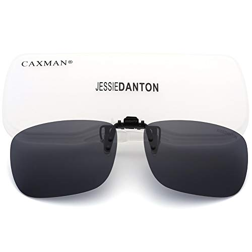 CAXMAN Polarized Clip On Sunglasses Over Prescription Glasses for Men Women UV Protection Flip Up Grey Lens Large Size