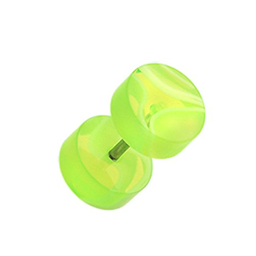 (Inspiration Dezigns 16G Marble Swirl UV Acrylic Fake Plugs (Sold as 1 Pair) (Green/White))