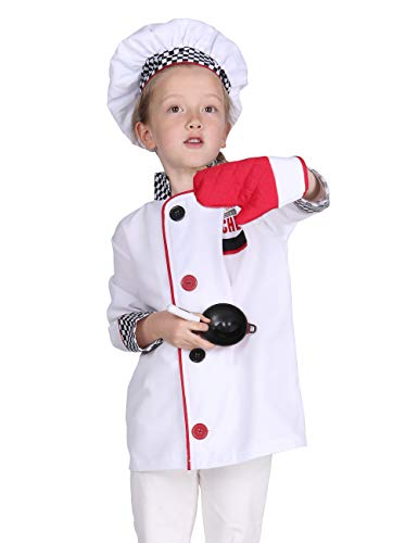 Familus Unisex Chef Costume for Kids Chef Coat with Hat and Oven Mitt 6T Black White