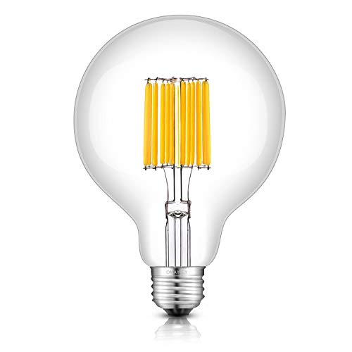 OMAYKEY LED Globe Bulb 12W (120W Equivalent) 3000K Soft White 1200LM, E26 Medium Base Vintage G30 / G95 Clear Glass Globe Edison Style LED Filament Light Bulbs, Non-dimmable