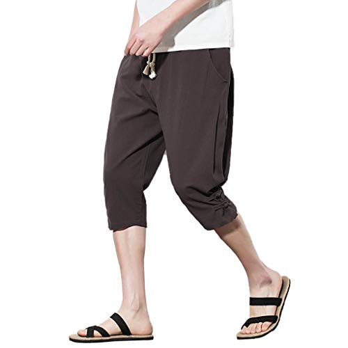 YKARITIANNA Men's Summer Fashion Leisure Pure Color Button Linen Loose Calf-Length Pants Brown (Paris Hilton Fringe)