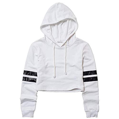 Perfashion Women's Crop Top Hoodie Long Sleeve Loose Striped for Women Pullover Sweatshirt Black White