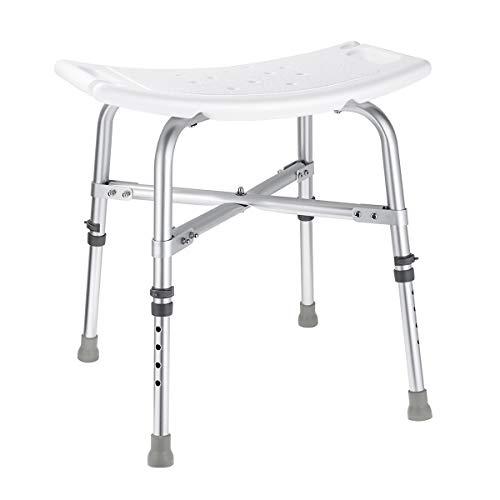 HEALIFTY Shower Chair - Adjustable Bathtub Seat 6 Height Bath Shower Transfer Bench Stool with Non-Slip Leg Pad ()