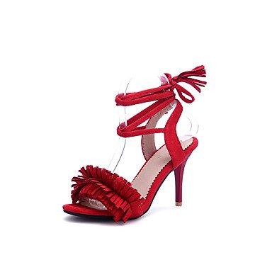 LvYuan Tacón Stiletto-Zapatos del club-Sandalias-Informal Fiesta y Noche-Semicuero-Negro Rosa Rojo Gris Pink