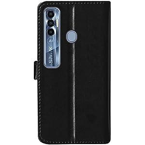 SBMS Tecno Pu Leather Flip Cover Wallet Case Cover for (Tecno Spark 7 Pro, Black)
